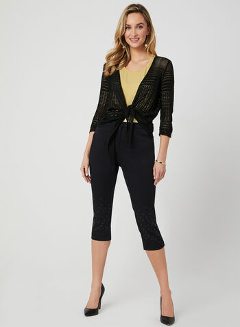 Pointelle Cardigan, Black, hi-res,  Spring 2019, pointelle, knit, cardigan