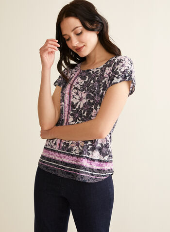 Floral Print T-Shirt, Purple,  t-shirt, floral, striped, short sleeves, stretchy, scoop neck, rhinestones, spring summer 2020