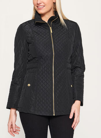 Diamond Quilted Hidden Hood Jacket, Black, hi-res