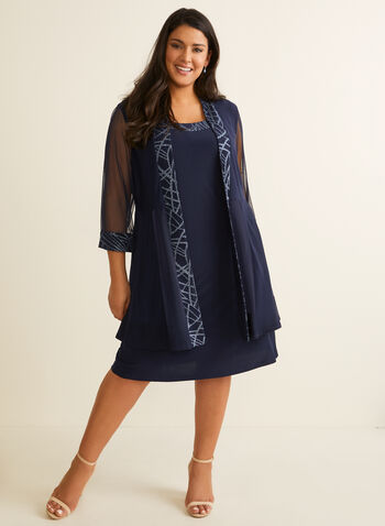 Glitter Detail Jacket & Dress, Blue,  dress, jacket, round neck, glitter, jersey, mesh, sleeveless, 3/4 sleeves, stretchy, spring summer 2020