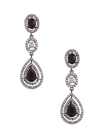 Crystal Encrusted Chandelier Earrings, Black, hi-res