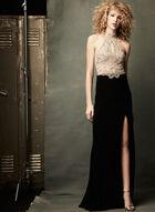 Beaded Cleo Neck Dress, Black, hi-res