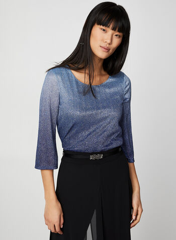 Two-Tone Metallic Top, Blue,  canada, metallic top, metallic, two-tone, flare sleeves, 3/4 sleeves, scoop neck, holiday top, fall 2019, winter 2019
