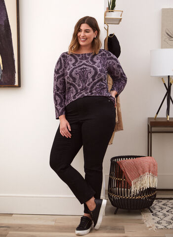 Paisley Print Long Sleeve Top, Purple,  fall winter 2021, made in Canada, top, blouse, tunic, round neck, boat neck, long sleeve, jewel neck, stud detail, baroque, paisley print