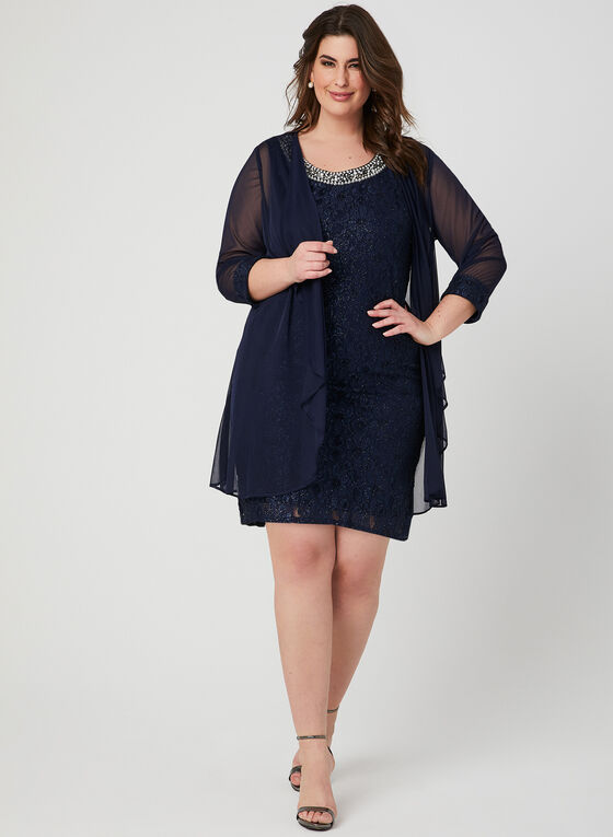 Glitter Lace Dress & Duster Set, Blue, hi-res