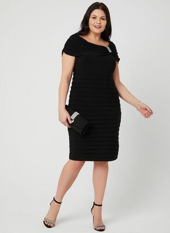 Empire Waist Jersey Dress, Black, hi-res,  drape, crystals, bandage dress, spring 2019