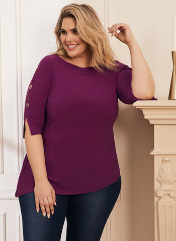 Button Detail Slit Sleeve Tunic, Purple,  top, tunic, 3/4 sleeves, slit, button, round neck, spring summer 2021