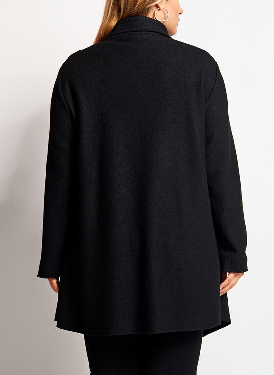 Wool Blend Drape Front Coat, Black, hi-res