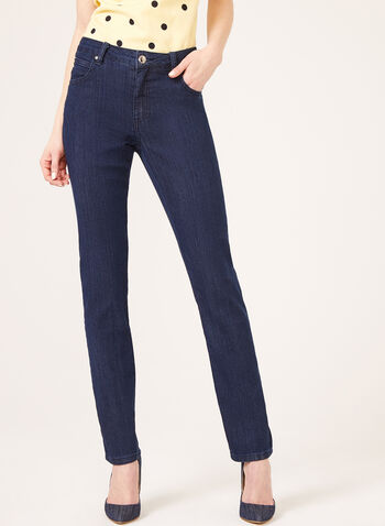 Simon Chang - Tummy Control Straight Leg Jeans, Blue, hi-res