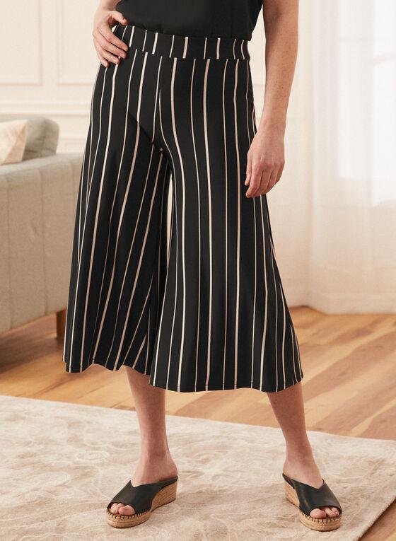 Stripe Print Wide Leg Capris, Black