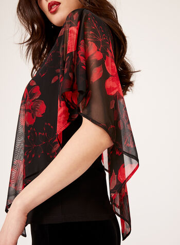 Asymmetric Floral Poncho Blouse, Red, hi-res