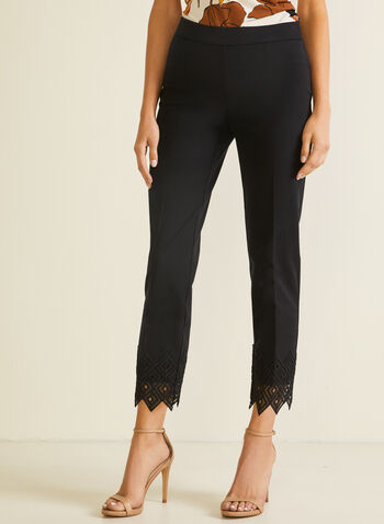 Lace Detail City Fit Pants, Black,  pants, pull-on, city fit, slim leg, pleats, lace, crochet, spring summer 2020