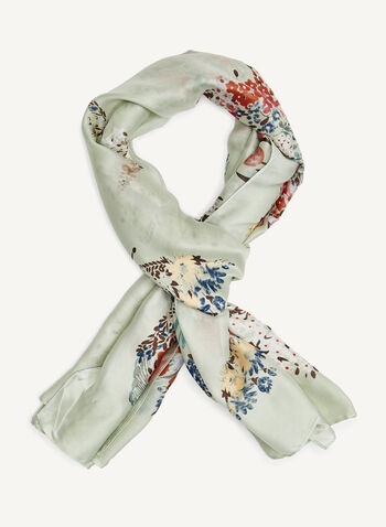 Mixed Floral Composition Print Scarf, Green, hi-res