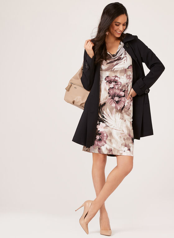 Cowl Neck Empire Waist Floral Dress, Pink, hi-res