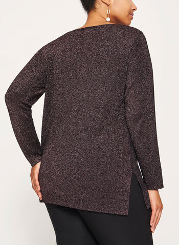 Long Sleeve Lurex Knit Tunic, Black, hi-res