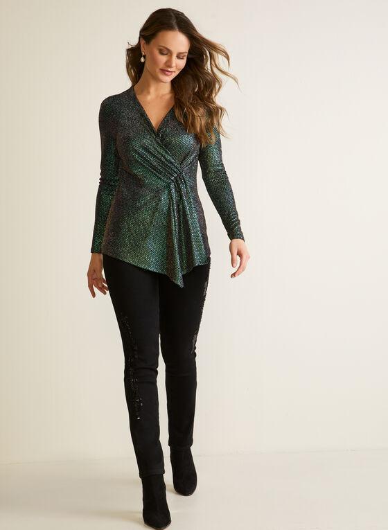 Asymmetric Shimmering Top, Green