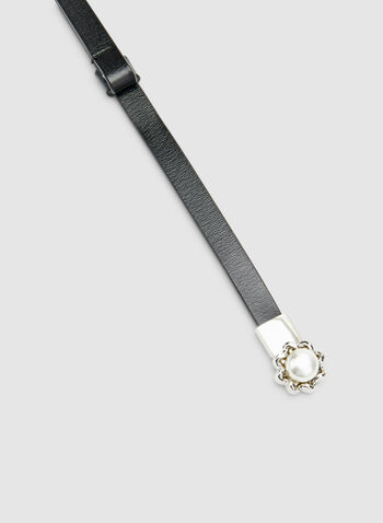Thin Pearl Buckle Belt, Black,  leather, buckle, pearl, one size, adjustable, fall 2019, winter 2019