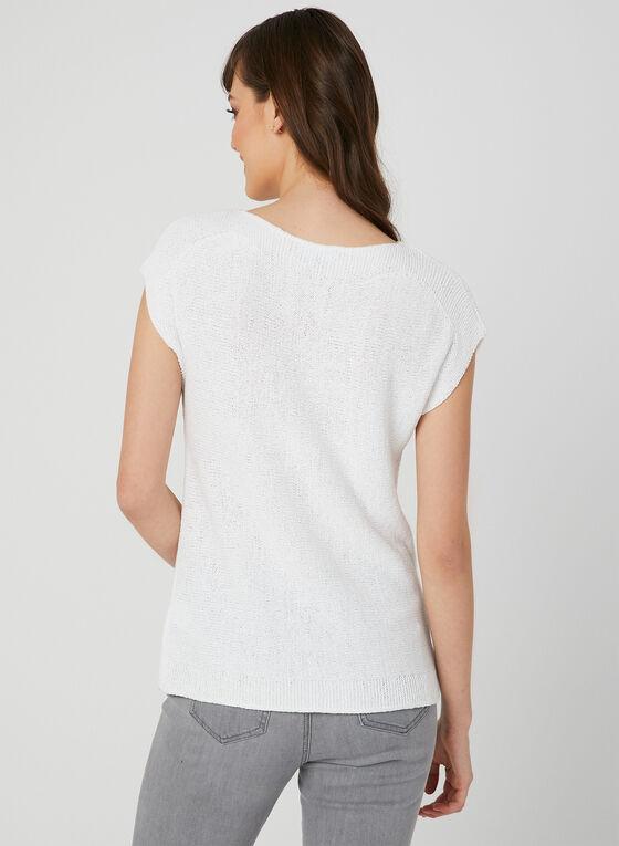 Haut en tricot à manches cape, Blanc, hi-res