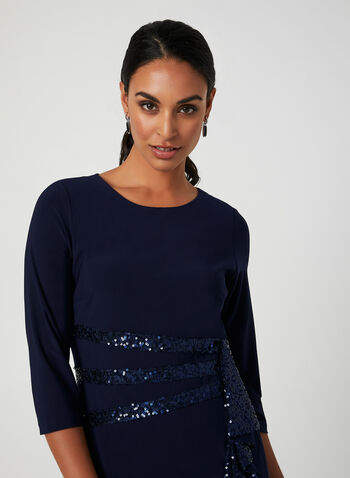 Sequin Detail Sheath Dress, Blue,  fall winter 2019, long sleeves, scoop neck, jersey, sequins, cokatail
