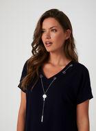 Haut en tricot ottoman et détail collier, Bleu, hi-res