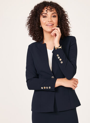 Notched Collar Blazer, Blue, hi-res