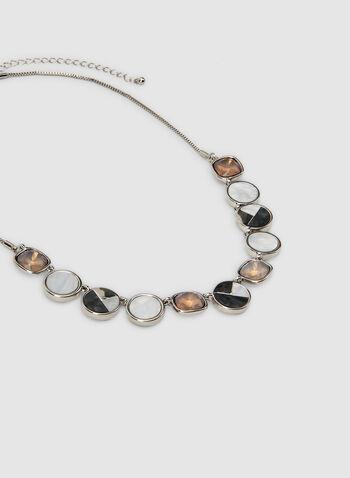 Collier à pierres facettées et ronds, Gris, hi-res,  collier, ronds, pierres facettées, couleurs, automne hiver 2019