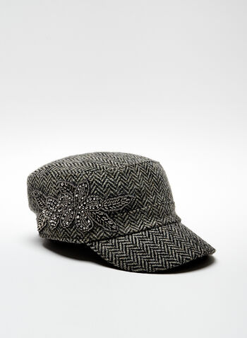 Herringbone Print Wool Blend Cap, Black, hi-res