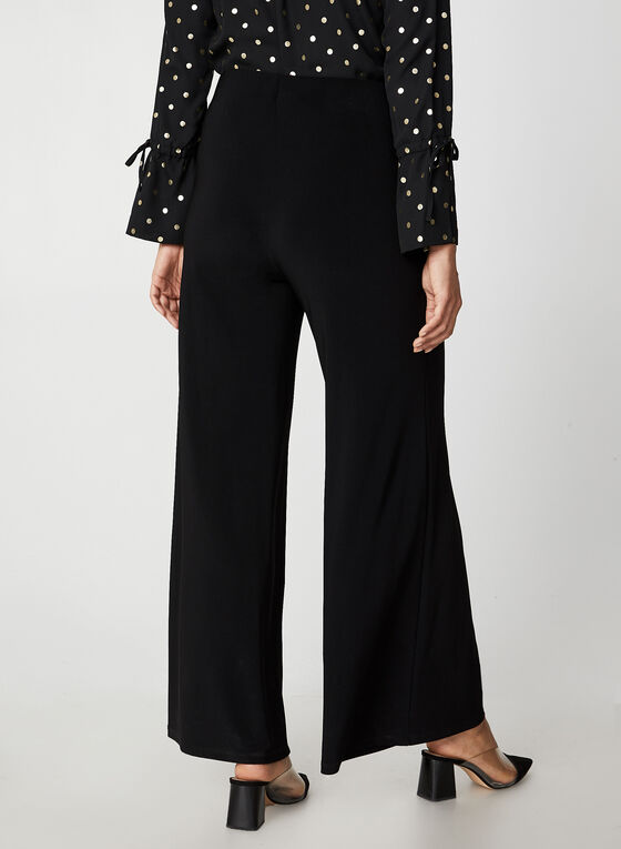 Wide Leg Jersey Pants, Black