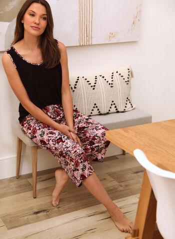 Rose Print Pyjama Set, Black,  spring summer 2021, sleepwear, pj, pyjama, set, floral print, cami, capris, pants, pull-on, elastic waist, wide strap, V neck, contrast, soft, rose print