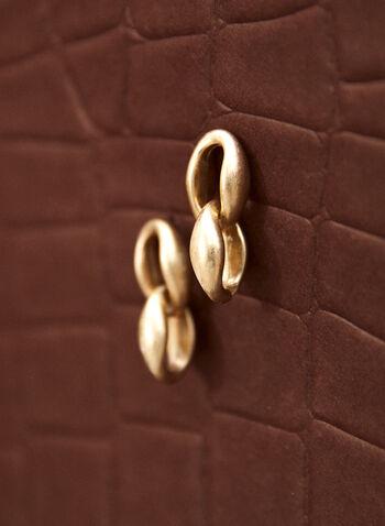 Boucles d'oreilles pendantes à maillons, Or,  accessoire, bijou, boucles d'oreilles, doré, maillons, larges, deux étages, étagées, tige, fermoir poussette, pendantes, automne 2021