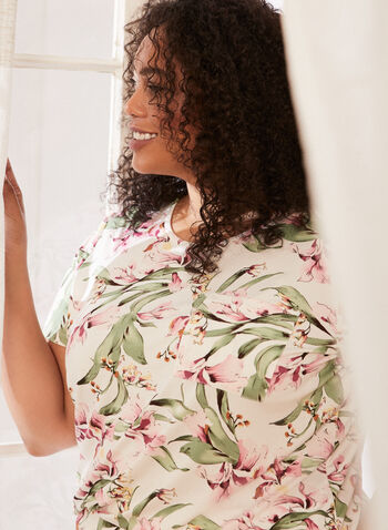 Floral Print Pyjama Top, White,  spring summer 2021, sleepwear, pj, pyjama, top, tee, round neck, floral print, plus, short sleeve, rounded hem, soft, comfort, t-shirt