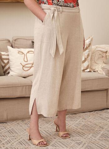 Pantalon gaucho à ceinture, Blanc cassé,  capri, gaucho, à enfiler, pull-on, ceinture, poches, lin, jambe large, fente, printemps été 2021