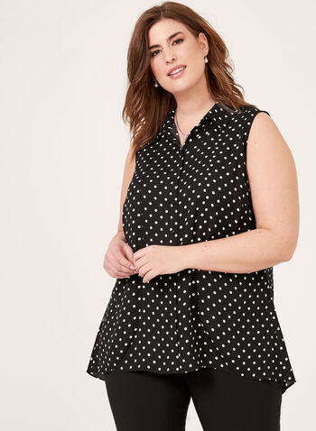 Sleeveless Polka Dot Print Blouse, White, hi-res