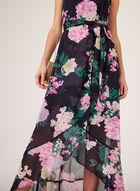 Floral Print High-Low Dress, Blue, hi-res