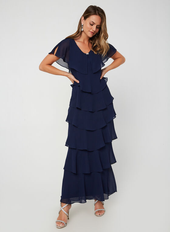 Tiered V-Neck Dress, Blue, hi-res