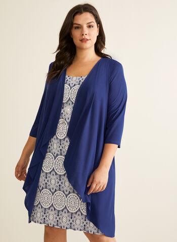 Ensemble robe texturée et cardigan, Bleu,  robe de jour, cardigan, jersey texturé, médaillon, collier, printemps été 2020