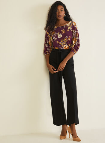 Floral Print Balloon Sleeve Top, Purple,  top, floral print, 3/4 sleeves, balloon, fall winter 2020