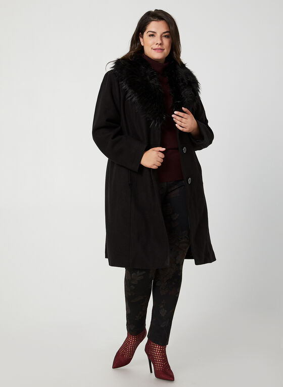 Manteau à col en fausse fourrure, Noir