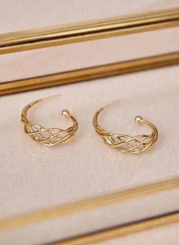 Braided Hoop Earrings, Gold,  spring summer 2021, earrings, hoop, accessory, accessories, beads, gold, braid, hook closure, golden, texture,