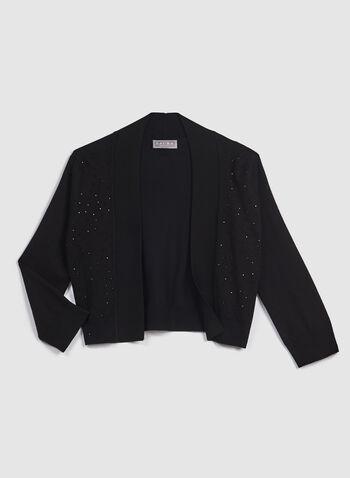 Crystal Enhanced Knit Bolero, Black, hi-res