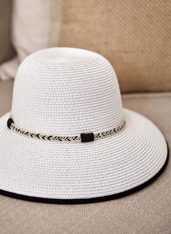 Contrast Detail Hat, White,  spring summer 2021, accessory, accessories, hats, straw, braid, contrast