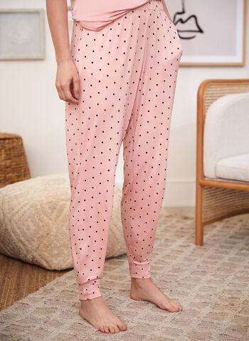 Polka Dot Print Pyjama Pants, Pink,  fall winter 2021, bedtime, sleepwear, pyjamas, pajamas, dotted, pull on, elastic waist,