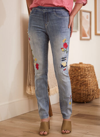 Floral Embroidery Jeans, Blue,  spring summer 2021, denim, flowers, flowery, embroidered, made in Canada, pull on, slim fit, ripped,