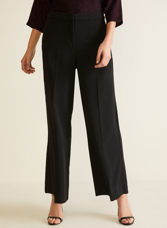 Pleated Palazzo Pants, Black