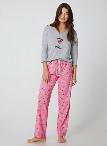 Pillow Talk - Two-Piece Pyjama Set, Grey,  Pillow Talk, sleepwear, pyjama, fall 2019, winter 2019