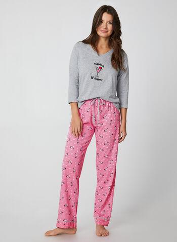Pillow Talk - Two-Piece Pyjama Set, Grey, hi-res,  Pillow Talk, sleepwear, pyjama, fall 2019, winter 2019