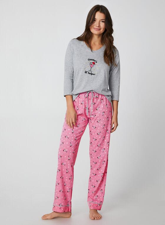 Pillow Talk - Pyjama deux pièces motif ludique, Gris, hi-res