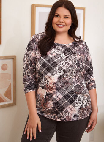 Argyle & Baroque Print Top, Pink,  fall winter 2021, top, tee, round neck, crew neck, checkered print, floral print, flowers, flowery,