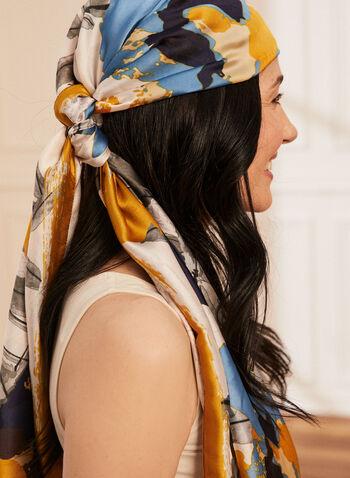 Foulard léger à motif floral , Bleu,  foulard, léger, floral, soie, motif, printemps été 2021