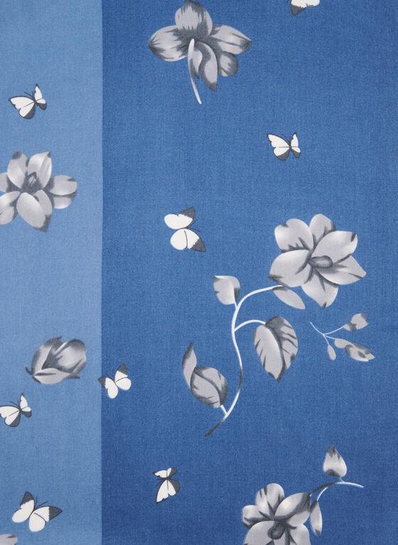 Écharpe florale deux tons, Bleu